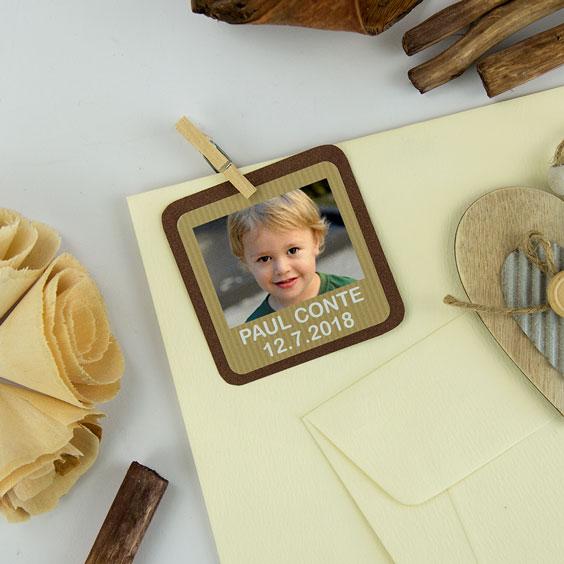 Etiquette communion carrée avec photo et cadre