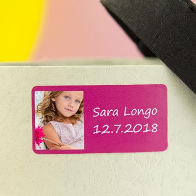 Etichette rettangolari per comunioni con foto e cornice