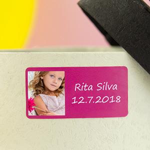 Etiquetas retangulares com foto e molduras para comunhão