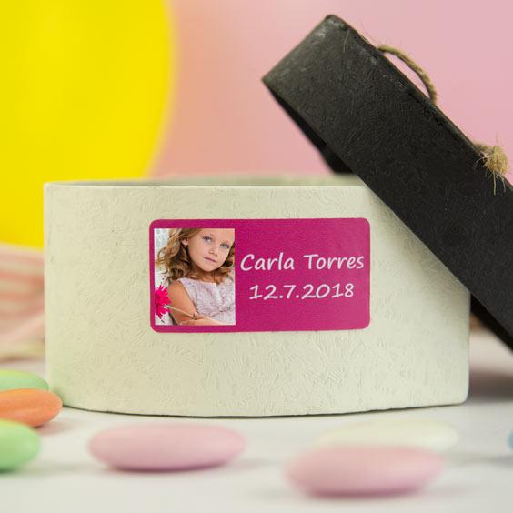 Etiquetes rectangulars amb foto i marc per a comunions