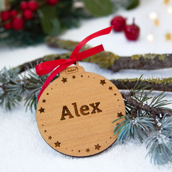 Custom Engraved Wooden Christmas Decorations