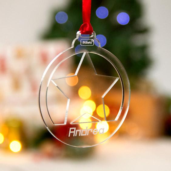 Boles de Nadal personalitzades de metacrilat troquelada