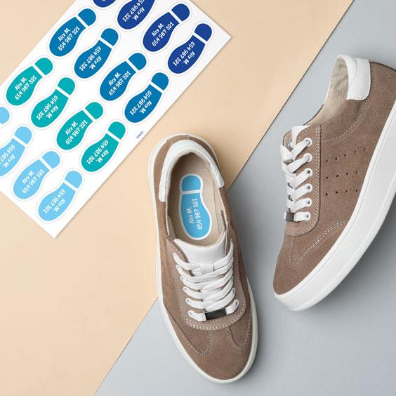 Etiquetas de pisadas para zapatos