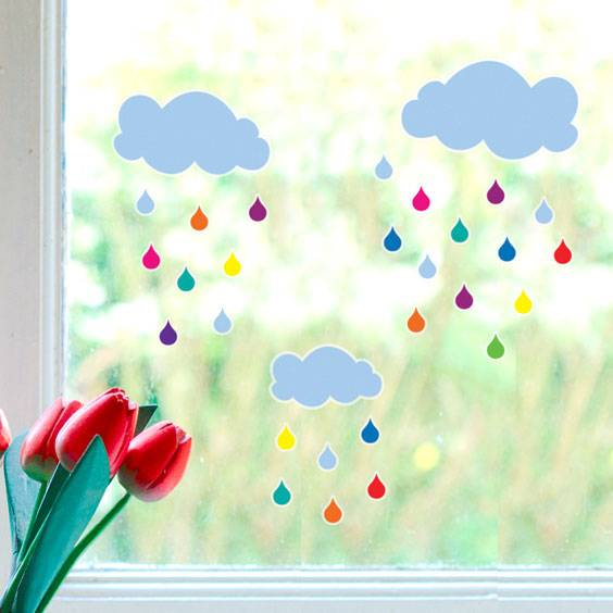 Rain Cloud Window Decals