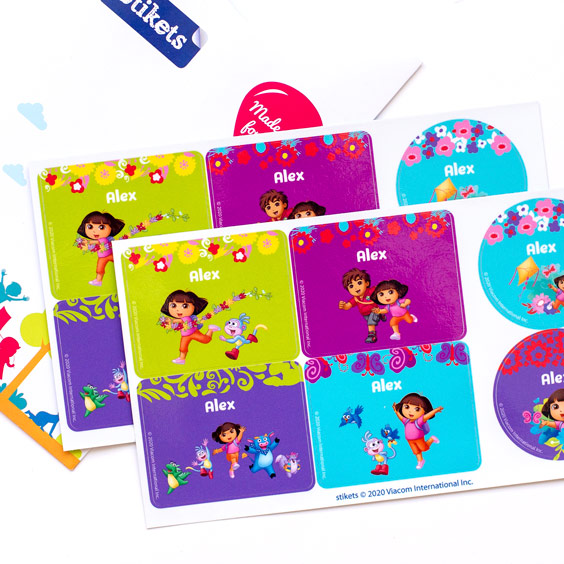 Dora the Explorer Name Labels for Water Bottles and Lunch Boxes