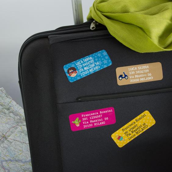 Etichette Adesive per Bagagli rettangolare