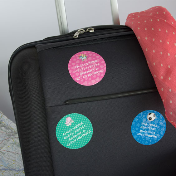 Runde Aufkleber für Koffer