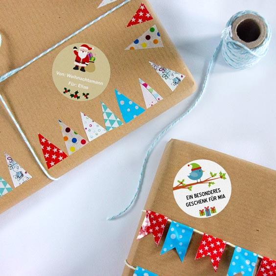 Personalisierte Geschenkaufkleber für  Weihnachten
