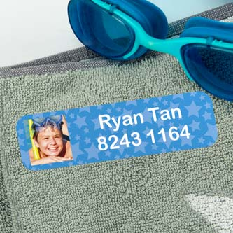 Large Iron-On Photo Name Labels