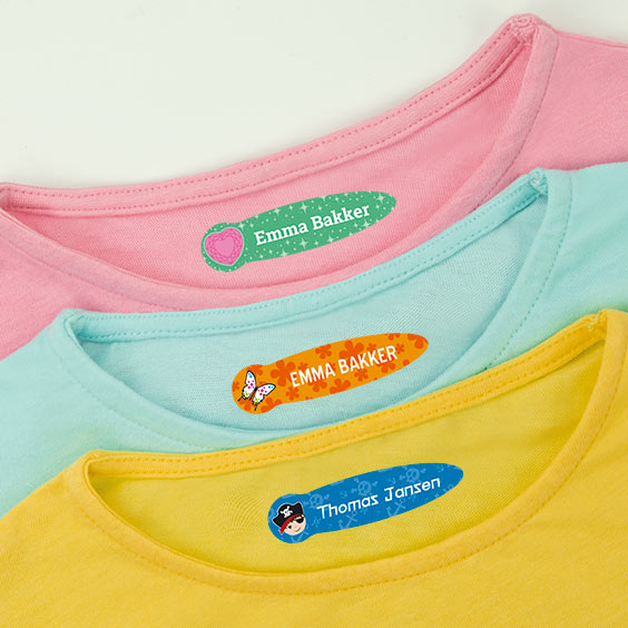 Kleine warmtegevoelige naamlabels voor kleding