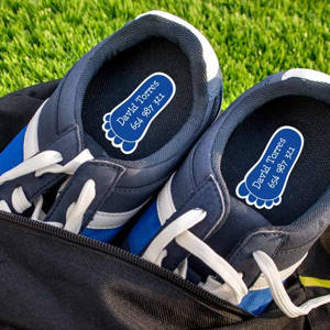 Sports shoes name labels