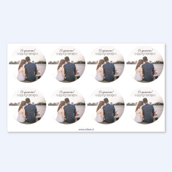 Etichette rotonde per matrimoni con foto