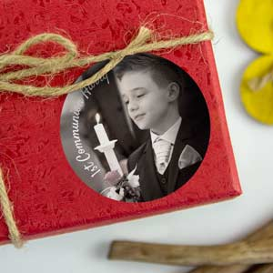 Round photo stickers for 1st Communion  favours (24 u)