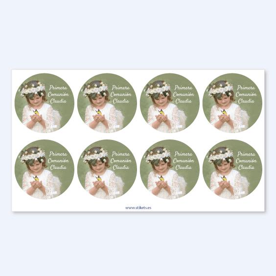Etiquetas redondas con foto para comuniones