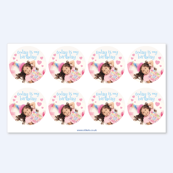 Round photo stickers for birthdays