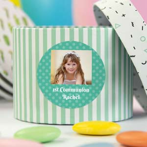 Round stickers with photo and frame for 1st Communions