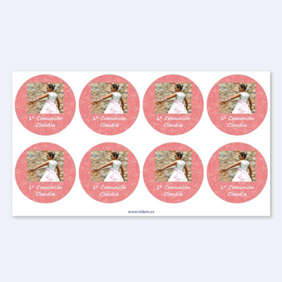 Etiquetas redondas con foto y marco para comuniones