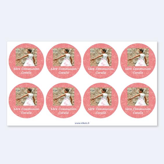Etiquette communion ronde avec photo et cadre