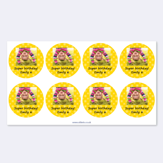 Round stickers with photo and frame for birthdays