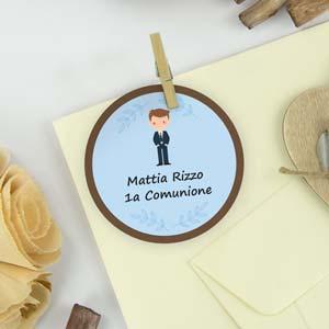 Etichette rotonde a tema per comunioni