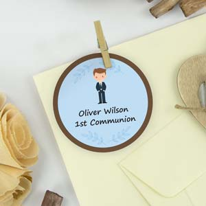 Round themed stickers for 1st Communion  favours