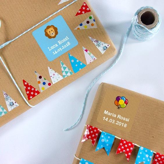 Adesivi quadrati per regali personalizzati