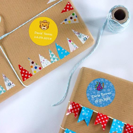 Etiquetas para regalos personalizadas redondas