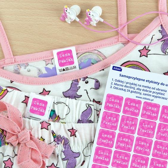Samoprzylepne etykiety do ubrań