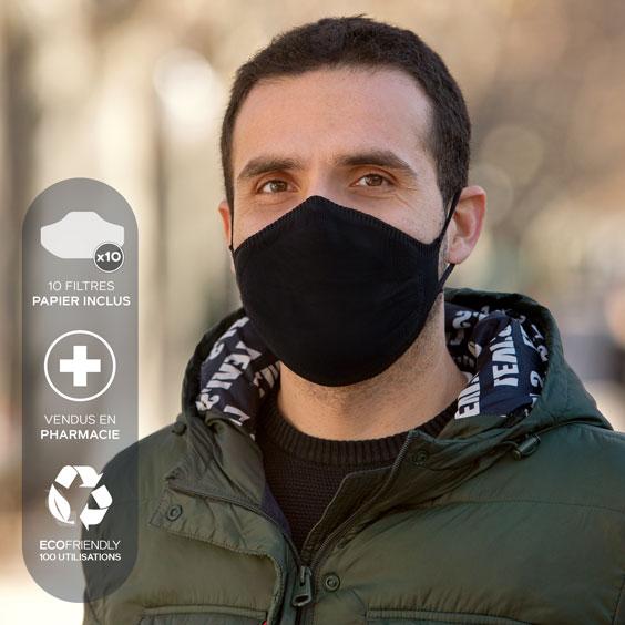 Masque de protection XL + recharge de 10 filtres papier