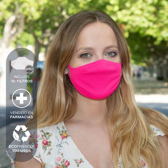 Mascarilla antivirus para adultos + Pack de 10 filtros. Lavable y reutilizable