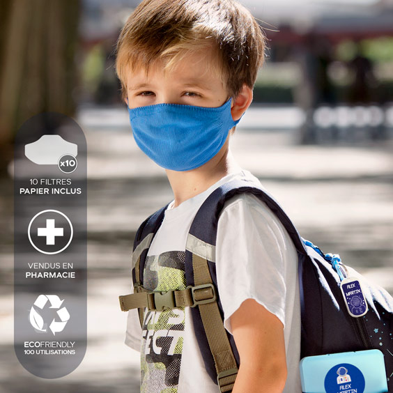 Masque de protection enfants 6/12 ans + recharge de 10 filtres papier