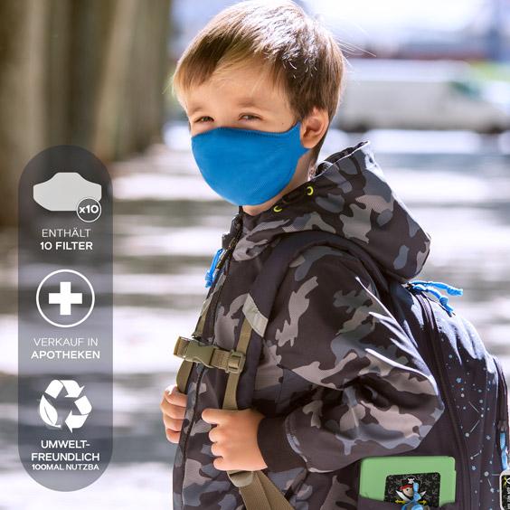 Gesichtsmasken für Kinder von 6-12 Jahre + Pack mit 10 Filtern
