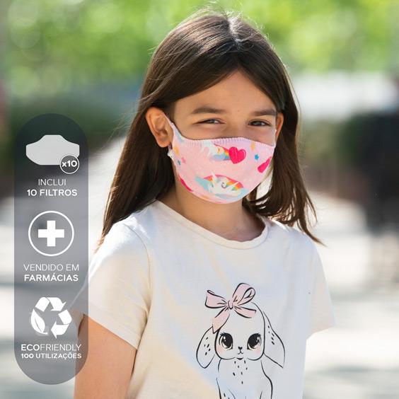 Máscara para crianças de 6 a 12 anos + Pack de 10 filtros