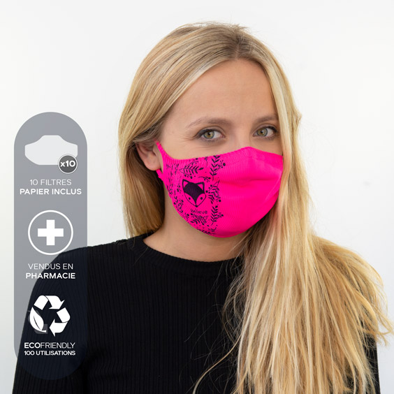 Masque de protection personnalisable adultes + recharge de 10 filtres papier