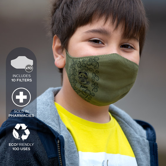 Personalized antivirus face masks size 6-12 years + a pack of 10 filters