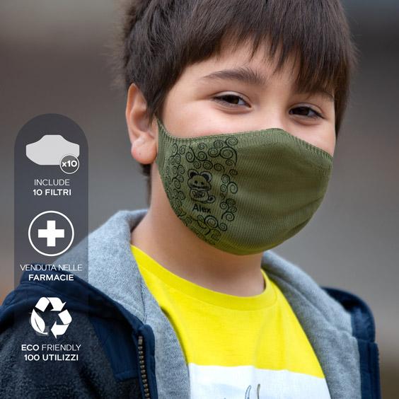Mascherina antivirus personalizzabile per bambini dai 6 ai 12 anni + confezione da 10 filtri