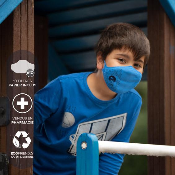 Masque de protection personnalisable enfants de 6 à 12 ans + recharge de 10 filtres papier