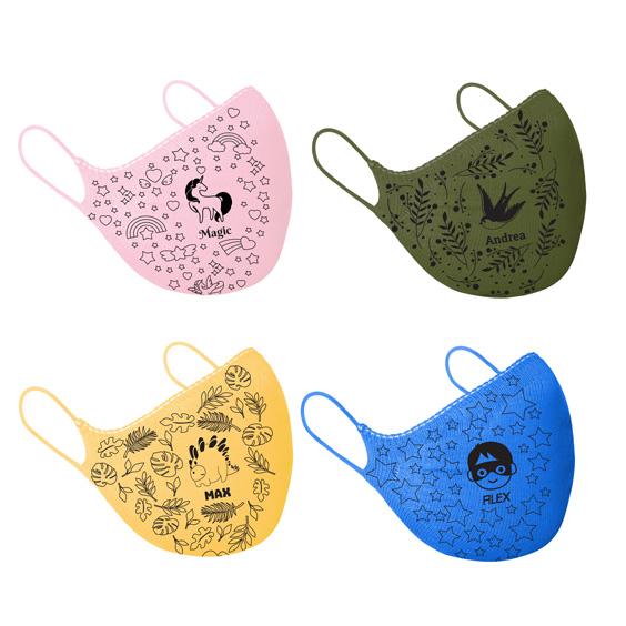 Mascareta personalitzable antivirus per a nens de 6 a 12 anys + Pack de 10 filtres