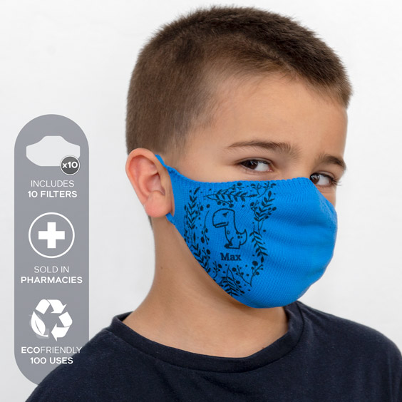 Personalized antivirus face masks size 3-5 years + a pack of 10 filters