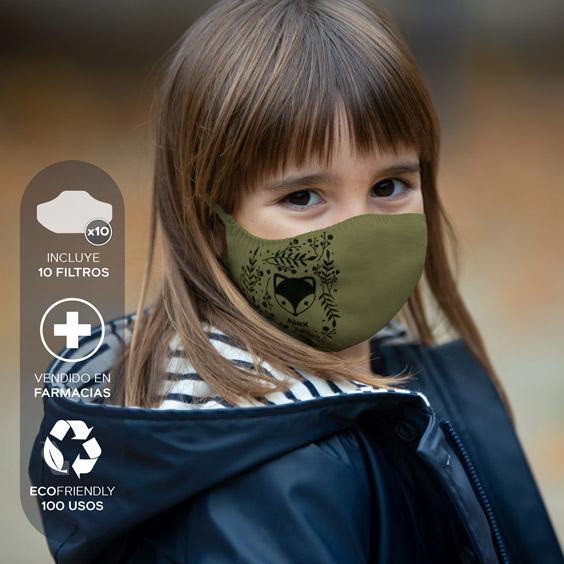 Mascareta personalitzable antivirus per a nens de 3 a 5 anys + Pack de 10 filtres