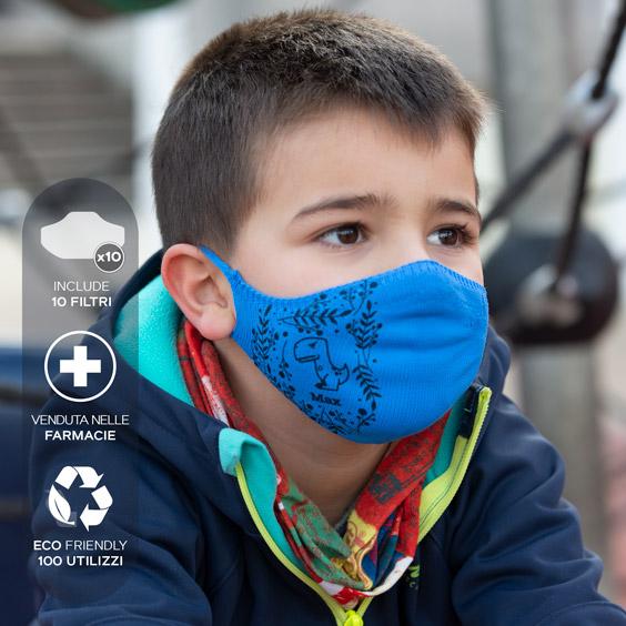 Mascherina antivirus personalizzabile per bambini da 3 a 5 anni + confezione da 10 filtri