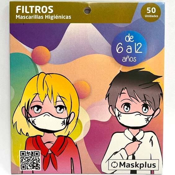 50 paper filters 6-12 years size