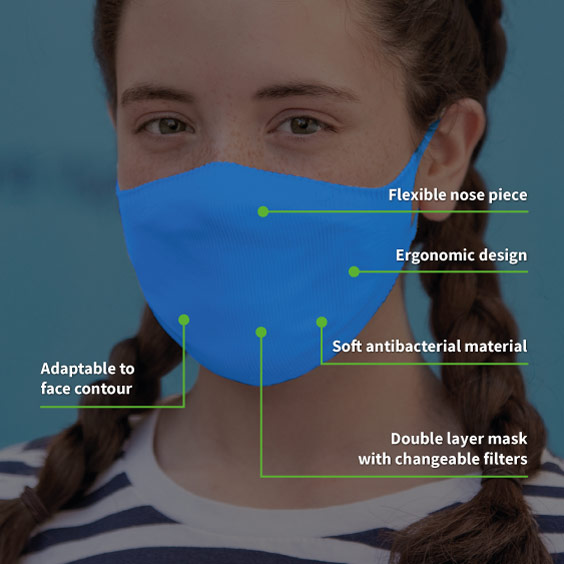 Mask for children from 6 to 12 years old + Pack of 10 filters (COLOR)