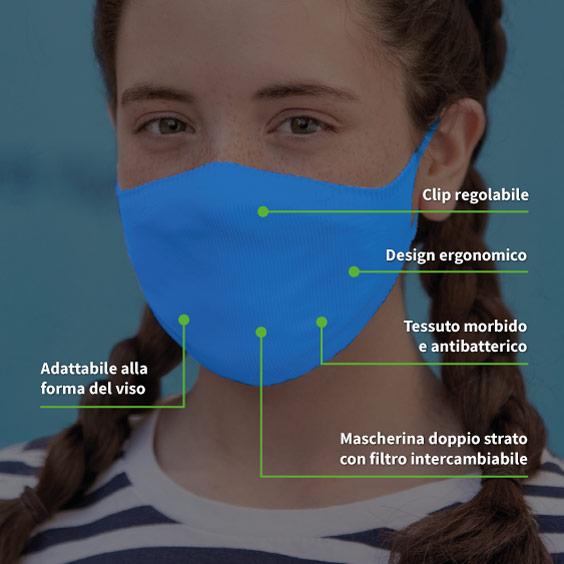 Maschera per bambini dai 6 ai 12 anni + confezione da 10 filtri