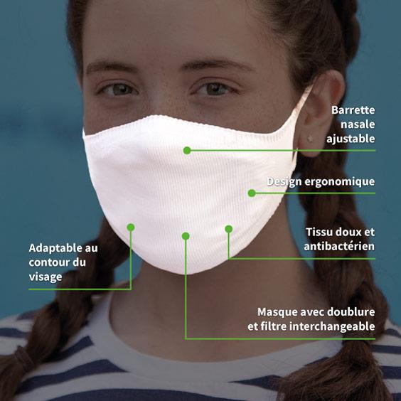 Masque de protection blanc personnalisable enfants de 6 à 12 ans + recharge de 10 filtres papier