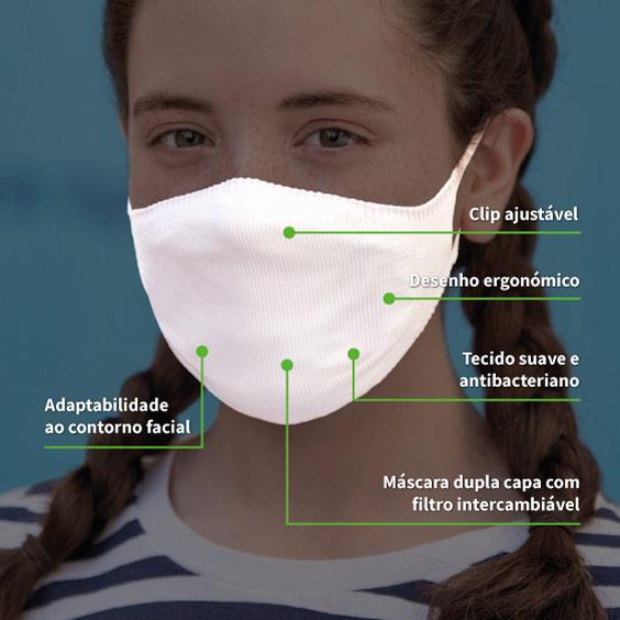 Máscara personalizável branca proteção para crianças de 6 a 12 anos  + Pack de 10 filtros