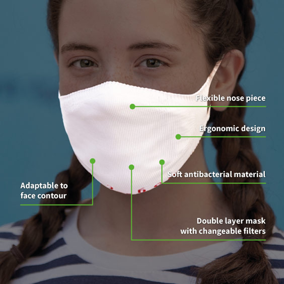 White Personalized antivirus face masks size 6-12 years + a pack of 10 filters