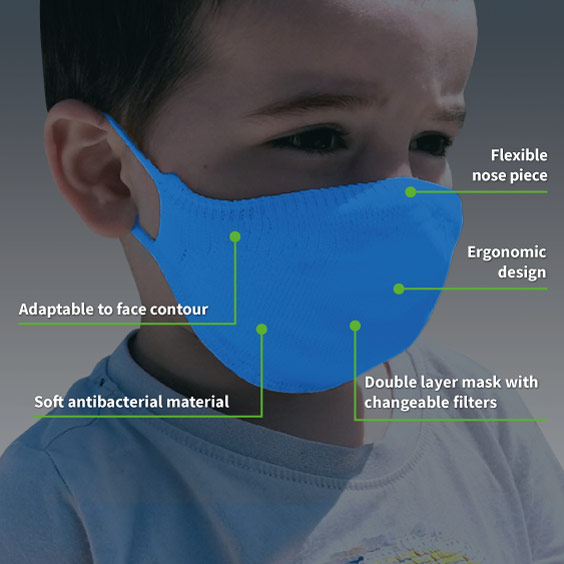 Mask for children from 3 to 5 years (COLORS) + Pack of 10 filters