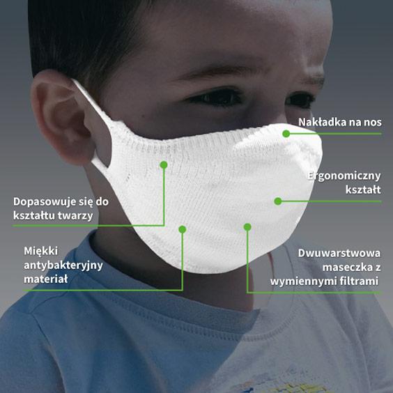Personalizowana biała antywirusowa maseczka rozmiar 3-5 lat + zestaw 10 filtrów