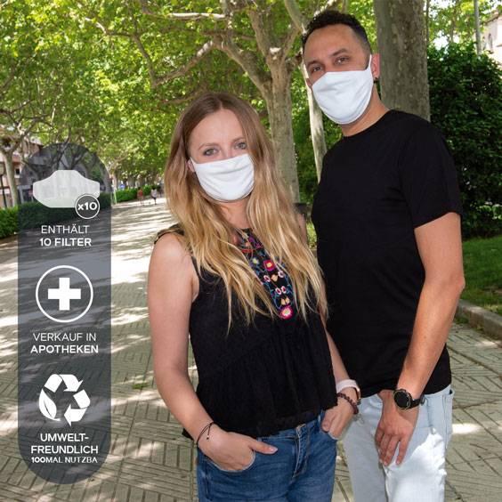 Gesichtsmasken für Erwachsene + Pack mit 10 Filtern